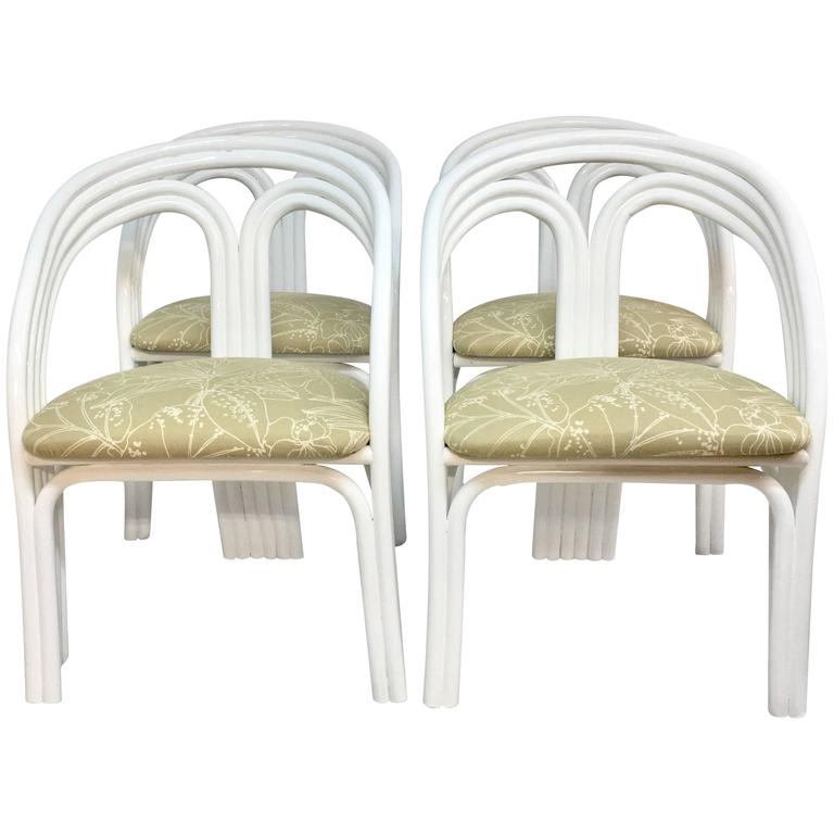 Set of Four Ficks Reed Style White Lacquered Rattan Upholstered Chairs
