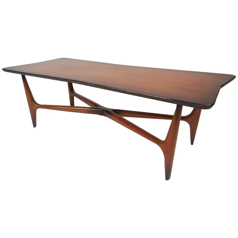 "Unique Mid-Century Modern ""X"" Base Coffee Table For Sale"