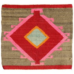 Small Navajo Sampler Rug in Red, Orange, Pink and Green
