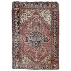 Antique Sarouk Faraghan Persian Rug with Florals in Navy, Red and Cream