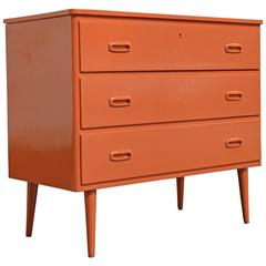 Swedish Mid-Century Modern Hermes Orange Lacquer Three-Drawer Chest