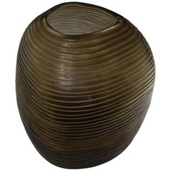Handmade Ridged Glass Vase, Romania, Contemporary