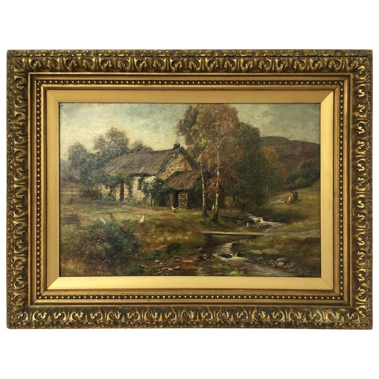 Framed Landscape Oil Painting on Canvas by W.S. Myles, circa 1850 ...