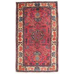 Antique Persian Lilihan Rug with Large-Scale Floral Design