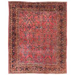 Antique Persian Sarouk Carpet with Naturally Dyed Wool and Large-Scale Flowers