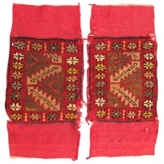 Pair of Antique Turkish Sampler Rugs with Coral, Yellow and Brown Colors