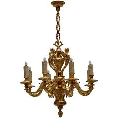 French Eight-Light Massive Bronze Chandelier with Cherubs