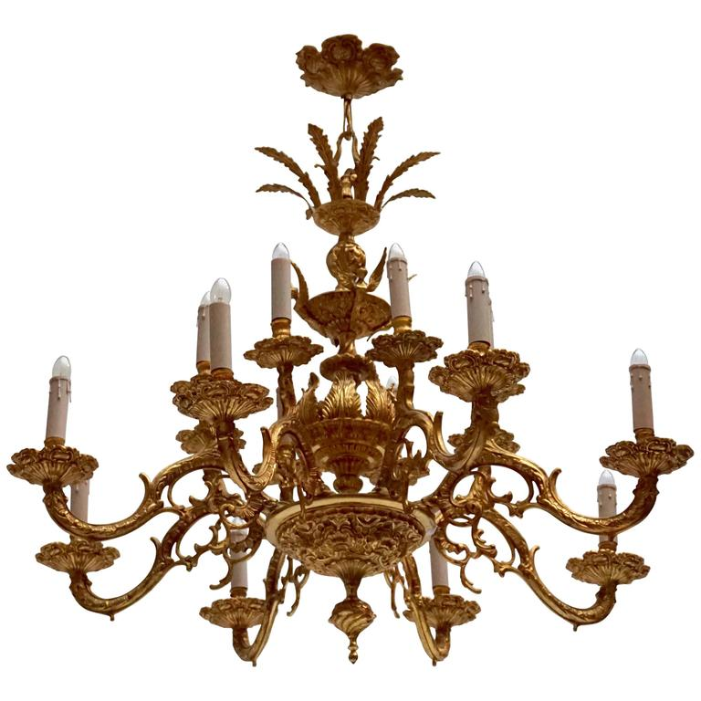 Two Gold-Plated Metal Chandeliers 1