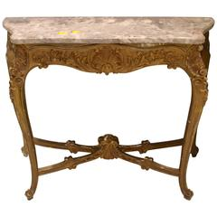 Early 19th Century Antique French Gilded Walnut Console with Marble Top