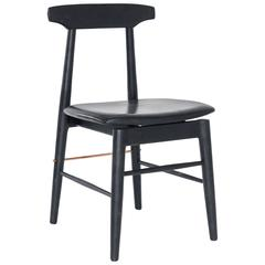 Ebonized Oak, Copper, and Black Leather Upholstered Sable Dining Chair