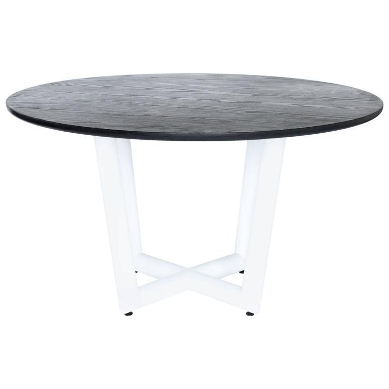 Ebonized Oak Round Slab Top Metal Base Sable Dining Table