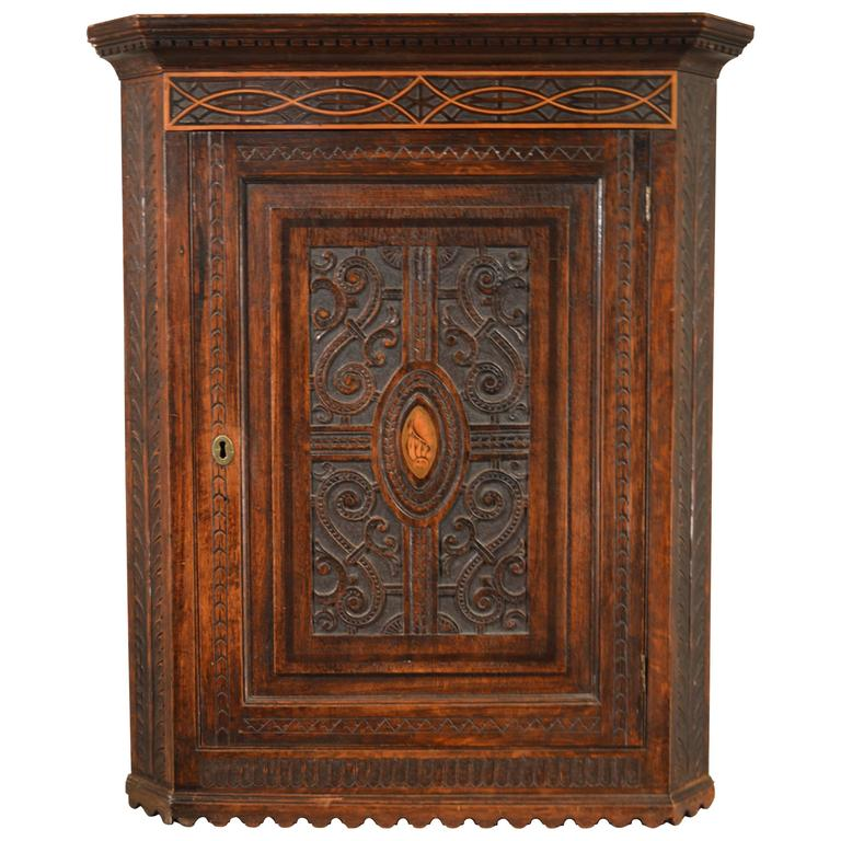18th Century English Hanging Corner Cupboard