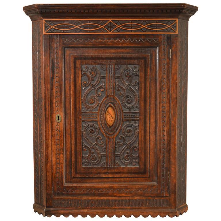 18th Century English Hanging Corner Cupboard - 18th Century Antique Corner Cabinet, Georgian Hanging Cupboard