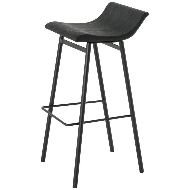 Wood Gachot Bar Stool with Steel Base by Thomas Hayes Studio For Sale