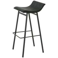 Wood Gachot Bar Stool with Steel Base by Thomas Hayes Studio