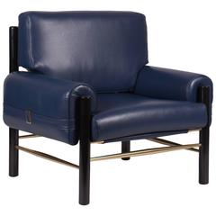 Mid-Century Modern-Style Leather, Wood and Brass Boxy Armchair