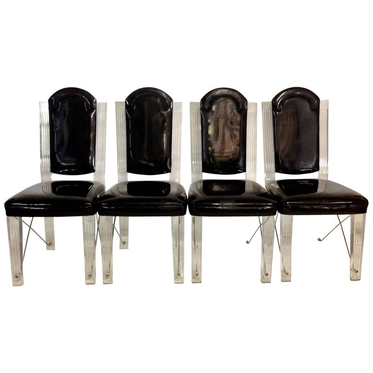 1970'S Set of Four Lucite and Chrome X-Base Upholstered High Back Chairs
