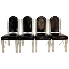 70'S  Lucite & Chrome X-Base Upholstered High Back Chairs S/4