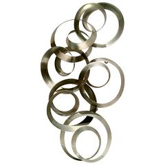 "C. Jere Brushed Steel ""Continuity"" Dimensional Circles Hanging Sculpture"