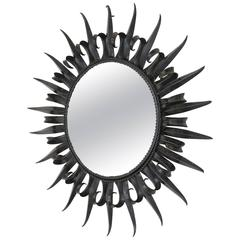 French Wrought Iron Art Deco Sunburst Mirror, 1940s
