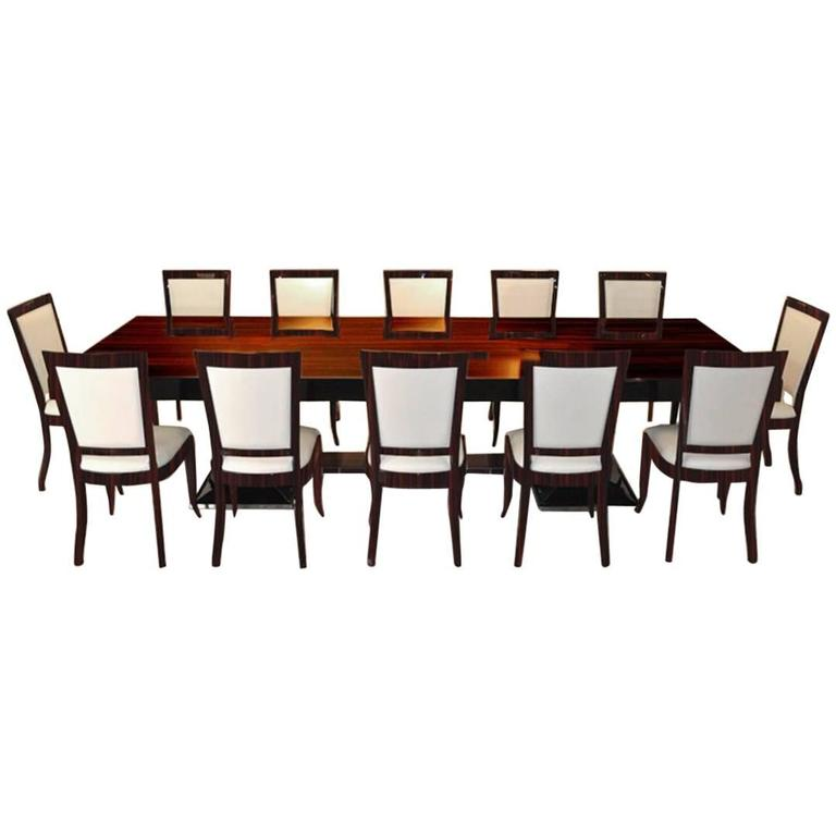 Large Art Deco Dining Table With 12 Matching Chairs For Sale At 1stdibs