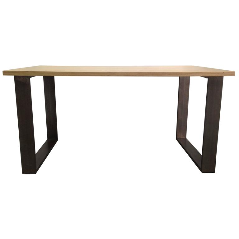 Modern Iron Industrial Table With Wood Top At 1stdibs