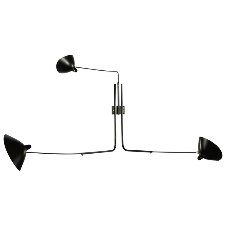 Serge Mouille Three Rotating Straight Arms Sconce Lamp