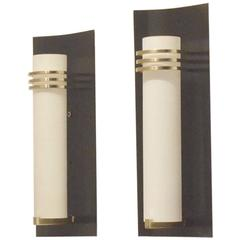 French Minimalist Mid-Century Design, Pair of Metal, Brass and Opaline Glass