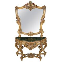 20th Century Rococo Wall-Mirror with Console