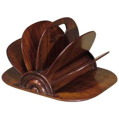 19th Century Rosewood Fan Shaped Letter Rack