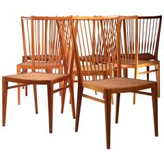 Set of Eight Pear Wood and Cane Dining Chairs, Italy, 1960s