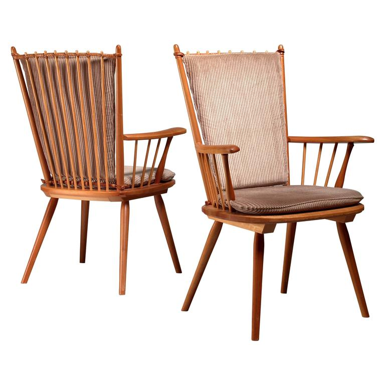 Albert Haberer Pair of Arts and Crafts Chairs, Germany, circa 1950 For Sale