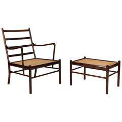 Ole Wanscher  PJ-149 Rosewood Colonial Chair and Ottoman