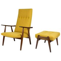 Hans Wegner GE-260 Chair and GE-240 Teak Ottoman