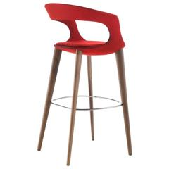 Modern Italian Bar Stool, Wood Legs, Felt or Leather Upholstery, Custom-Made