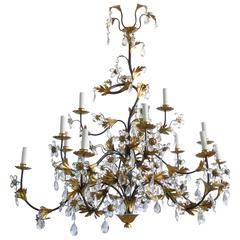 Hollywood Regency Wrought Iron Painted, Gilt and Crystal Fifteen-Arm Chandelier