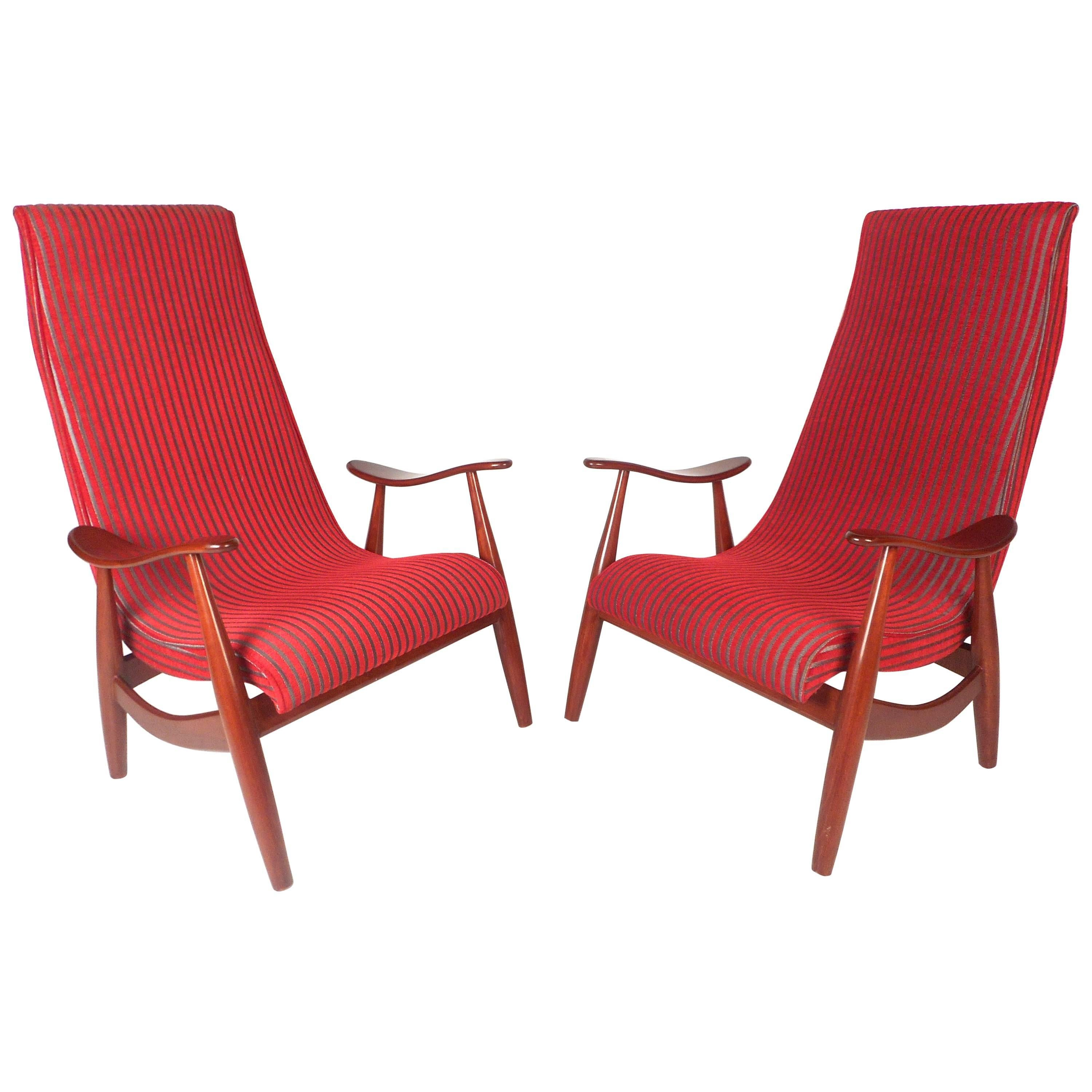 Pair of Mid-Century Modern High Back Walnut Lounge Chairs