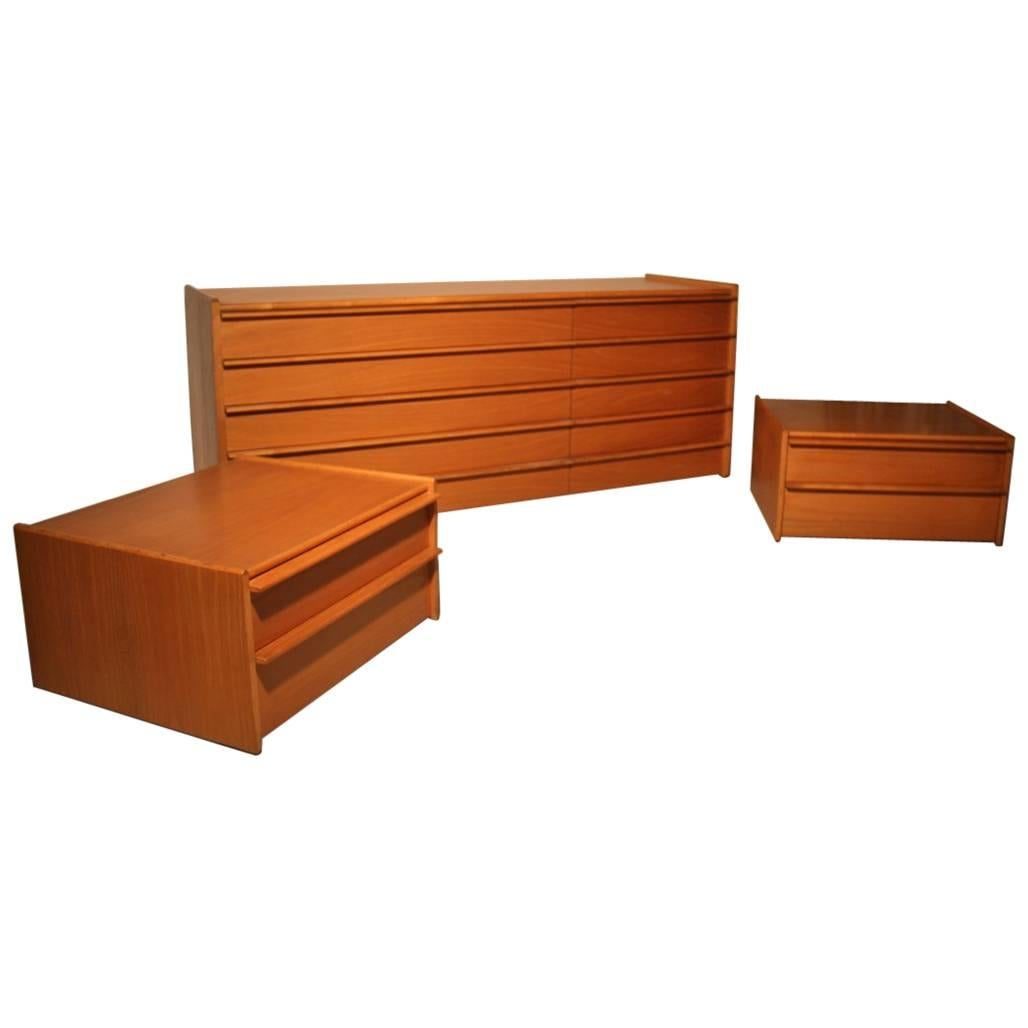 Wooden Chest of Drawers Chestnut Minimal Design, 1960s