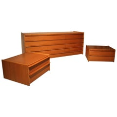 Wooden Chest of Drawers Chestnut Minimal Design, 1960s