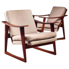 Pair of Danish Teak Lounge Chairs, 1960s