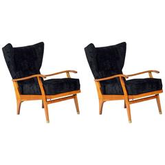 Pair of Mid-Century Solid Cherry Armchairs by Camea, Signed, circa 1950