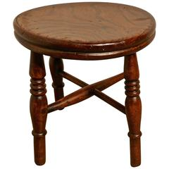 19th Century Elm Dairy Stool, Milking Stool