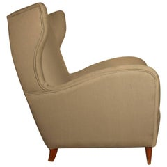 Armchair High Back Italian Mid-Century Paolo Buffa Design
