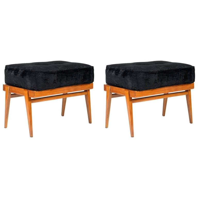 Pair of Mid-Century Solid Cherry Stools by Manufacture Camea, Signed & Patented