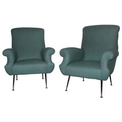 Mid-Century Italian Design Armchairs Green Color