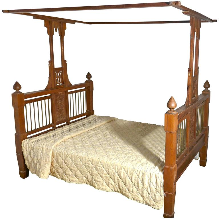 Colonial Style Antique Four Poster Double Bed 19th Century Raj Bed For Sale At 1stdibs