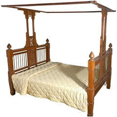 Colonial Style Antique Four Poster Double Bed, 19th Century Raj Bed