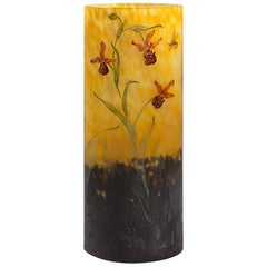 Art Nouveau Enameled and Etched Glass Vase by Daum