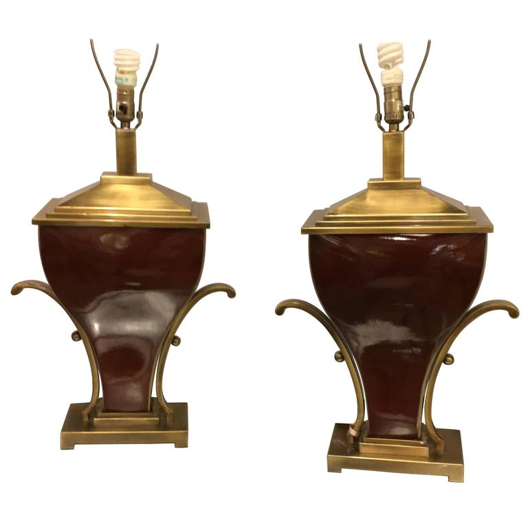 Pair of Art Deco Style Brass Mounted Porcelain Table Lamps