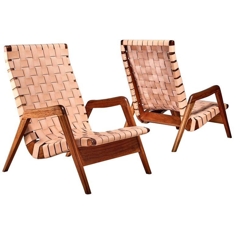 Pair Of Mexican Lounge Chairs With Leather Webbing, 1950s For Sale